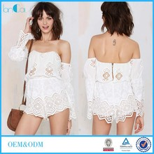 Custom Made Sexy Off Shoulder White Lace Casual Dress Rompers with Bell Sleeve