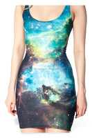 High quality and elasticity shining night sky digital printing sexy women dress