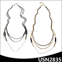gunmetal and gold plating layers long thick chain necklace
