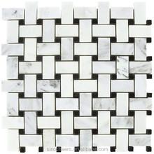 Carrara White 1x2 Basketweave Mosaic Tile with Black Dots Tumbled