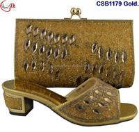 Fashionable italian laides low shoes and match bag with crystal .factory wholesale nigerian popular shoes match bag