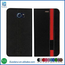New Fancy PU Leather Case For Samsung Galaxy S6 edge Assorted Colors Wallet Cell Phone Case