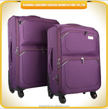China good after service manufacture 2 front pocket purple color trolley luggage travel bag, luggage suitcase bag set