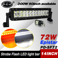 4x4 accessory 14inch 72w double row strobe flash led light bar for atv