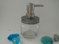 glass mason jar with soap pump dispenser, glass mason jar with stainless steel pump