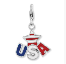 Wholesale Enamel USA Flag The Stars and Stripes Style Lobster Clasp Charm