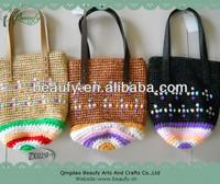 2014 Handmade Crochet Raffia Straw Handbag