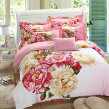 Wholesale China Best Manufacturer Beautiful Chinese rose polyester print bedsheet