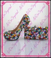 Aidocrystal high heel women colorful wedding shoes/ most popular thin heels shoe and bag sets