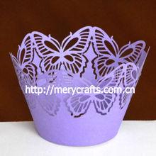 2014 innovative laser cut purple cupcake wrapper cake decorating supplies decorative butterfly holder wedding favors purple