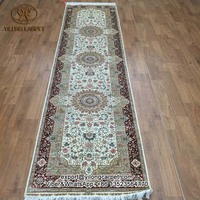 2.5x10 Floral persian silk rugs Long hallway hall stair handmade floor carpet