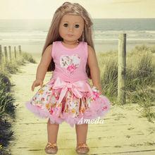 "18"" American Girl Doll Rose Heart Tee Light Pink Pettiskirt Clothes Dress Outfit"