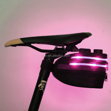 Rechargeable LED Light Cycling Seat Pouch Flashing Bicycle Bike Tail Rear Storage Bag
