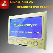 2014 9 pulgadas reposacabezas reproductor de dvd con la tecnología inalámbrica de la consola