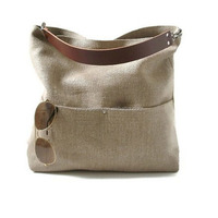 2015 Popular Jute Material Ladies Shopper Handbag with Cow Leather