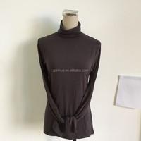 Turtle neck long sleeve basic blouse design for lady