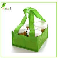 Green color long handle shopping non-woven bag