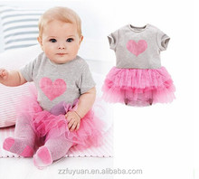cotton material baby short sleeve lace skirt dress romper with a love heart