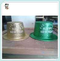 Happy New Year Party Glitter Cheap Plastic Top Hats HPC-1474