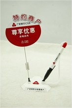 Triangle shape plastic stand pen with billboard