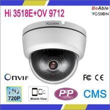 """cctv dome ip camera 1/4"""" OV 9712 CMOS Image Sensor 1.0MP Indoor IP Camera"""