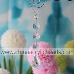 Iridescent 14.5CM Transparent Plastic Acrylic Full Cut Waterdrop Event Bead Garland Prism Fit UK Curtain