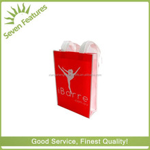 promotional small red pp non woven bag with woven handle
