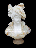 Beautiful Carved marble stone girl bust sculpture