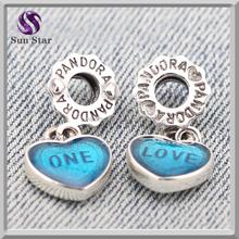 Sun Star Trendy 925 oxidised silver one love blue enamel dangle charm fit bracelet