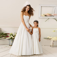 Children 2-12 Years Old Fashionable Baby Party White Satin Flower Girl Dresses Pattern Kids Party Wear LF02