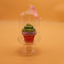 glass dome with cake ornament yellow 150*50 mm
