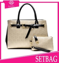 2015 hot sale shoulder bag/wallet 2 pcs in1 set leather women summer fashion handbags guangzhou