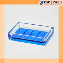 Modern Clear Blue bottom rectangle shape travel soap dish