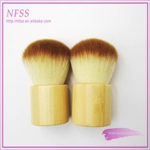 Fashion makeup brush facial custom logo professional cosmetic brush colored nylon bamboo handle kabuki brush for makeup