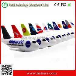 cute PVC plane usb 64 gb, plane shape usb flash drive 1tb
