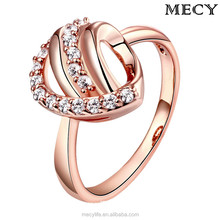 MECY LIFE Environmental copper ip rose gold &gold Platinum plating elegant new good price gem rings