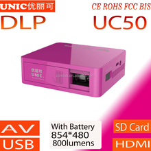 2015 Newest 854*480 dlp led pico projector UNIC UC50 with CE ROHS FCC BIS