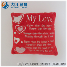 Valentines plush cushion or pillow, Customised toys,CE/ASTM safety stardard
