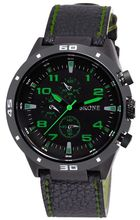 SKONE 9064 Sport Military Style Army Green Big Leather Watch