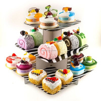 Pink 3 tiers paper economical individual cupcake stand