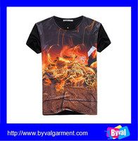 Front Digital Printing T Shirt With Back Beck Tape And Collar Neck T Shirt