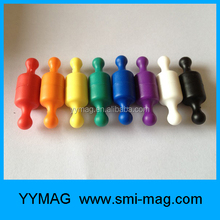 Plastic covered colorful whiteboard magnets push pin office magnet