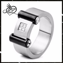 men's Stainless Steel Ring Band Silver CZ Black Hold