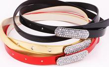 Best quality good selling fashion accessories ladies waistband for fashion dress pu crystal high performance women slimming belt