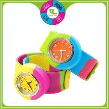 Factory OEM paypal waterproof rainbow silicone slap watches with logo for men,women and kids