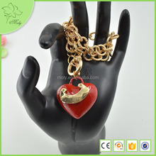 2012 Fashion New Simple Gold-tone Heart Red Stone Pendant Necklace Jewelry