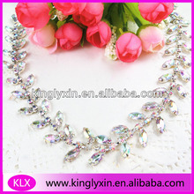 Crystal AB Collar Rhinestone chain, Rhinestone Bikini Connector ,Rhinestone Chain Trimming LXK12
