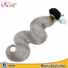 Charming design chic high quality thick bottom long lasting wholesaler price cream type grey body wave human hair extension
