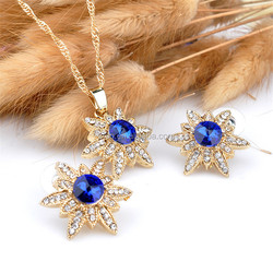 New Style Gold Plated Crystal Star Pendant Necklace Earring Jewelry Sets