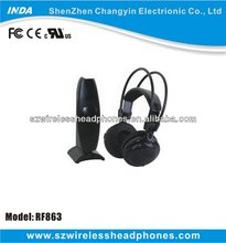 RF wireless stereo headset with reception througt wall and ceilings for party